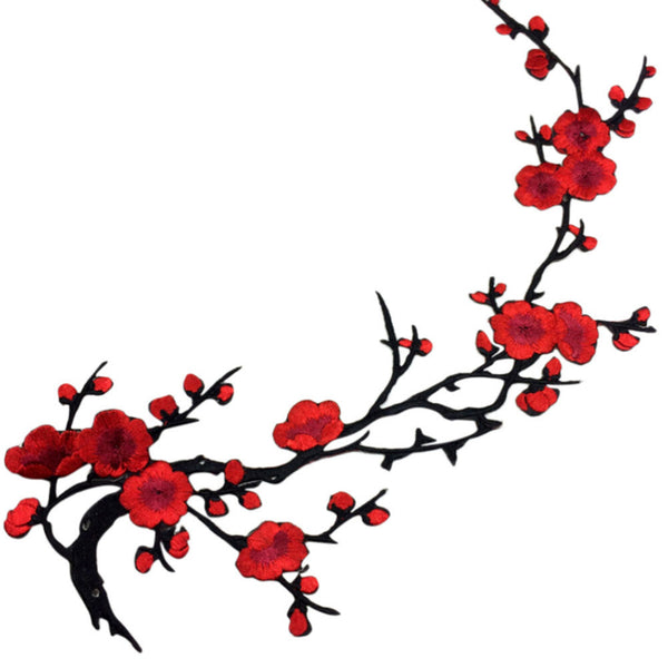 Plum Blossom Flower Embroidery Patch
