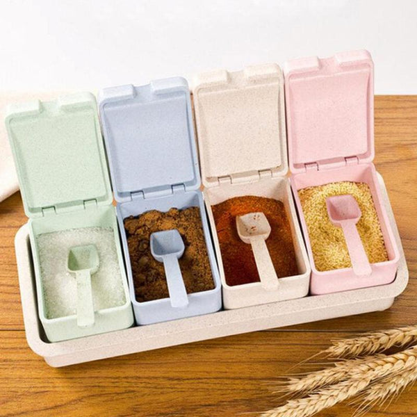 4 Grid Kitchen Creative Transparent Seasoning Cans