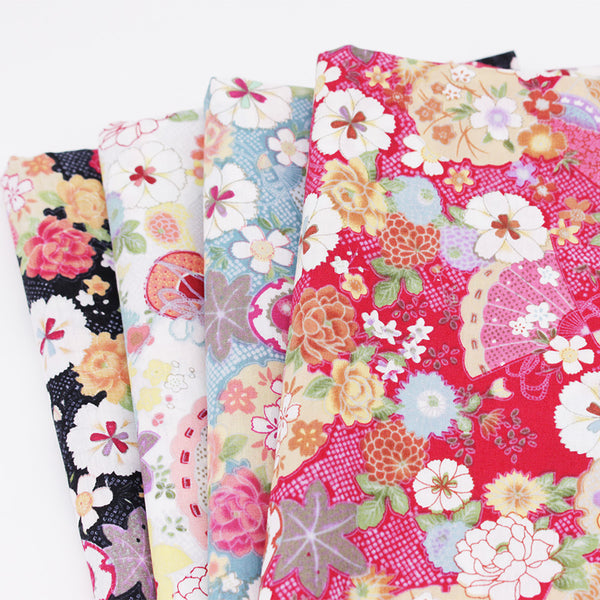 "4 Pcs Printed Cotton Fabric (19"" x 19"") Japanese Fabric"