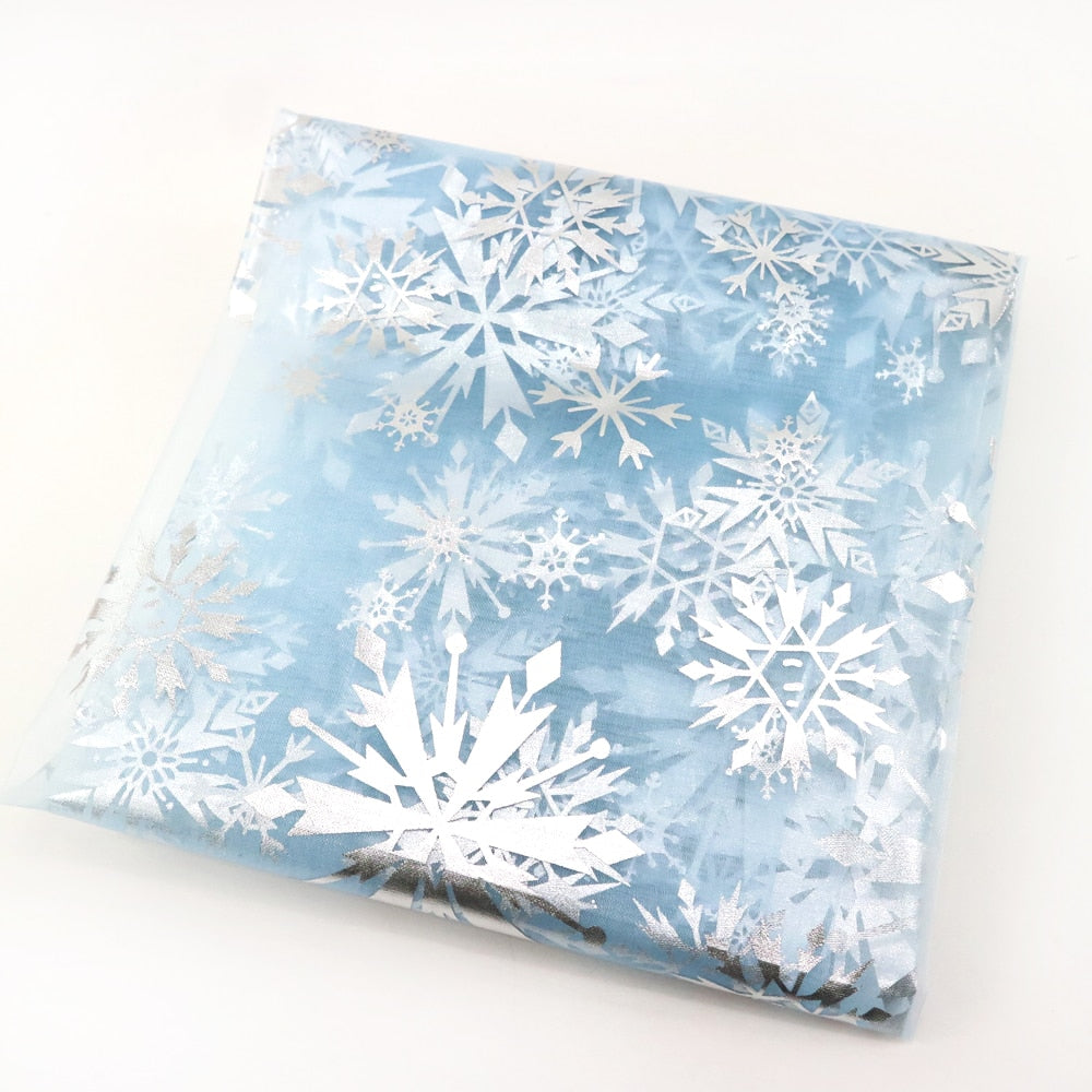 "Polyester Cotton (20"" x 59"") Silver Printed Christmas"