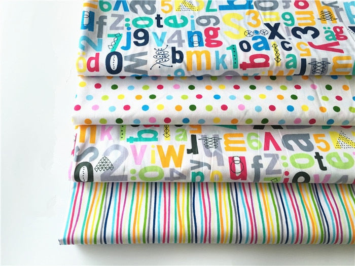 "4pcs Twill Cotton Fabric (16"" x 20"") Letter and Numbers Collection"