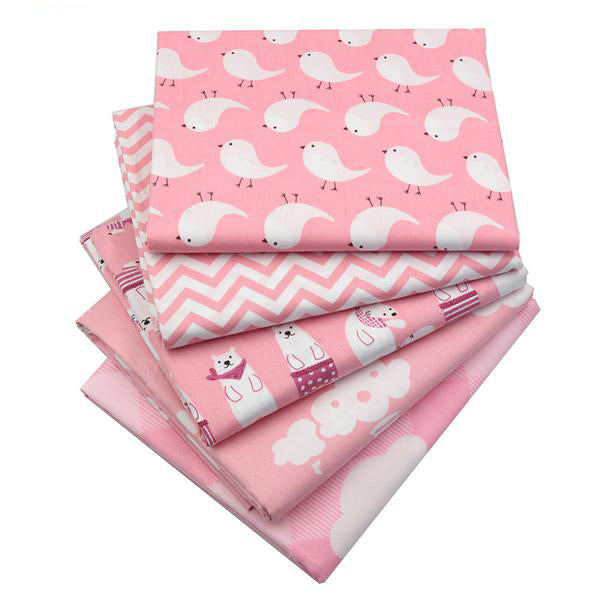 "5 pcs Pink Color Cotton Fabric (16"" x 20"") Bear and Bird Collection"