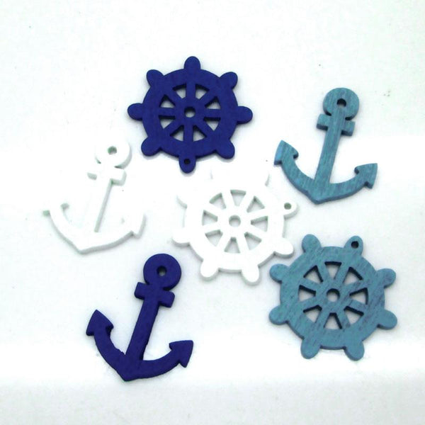 50 PCs Wooden Buttons Anchor Rudder Series