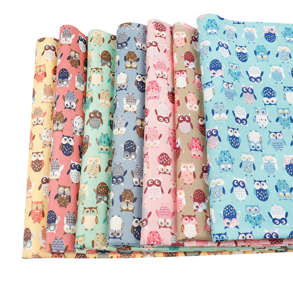 "Cotton Fabric (20"" x 59"") Cute Colorful Owl"