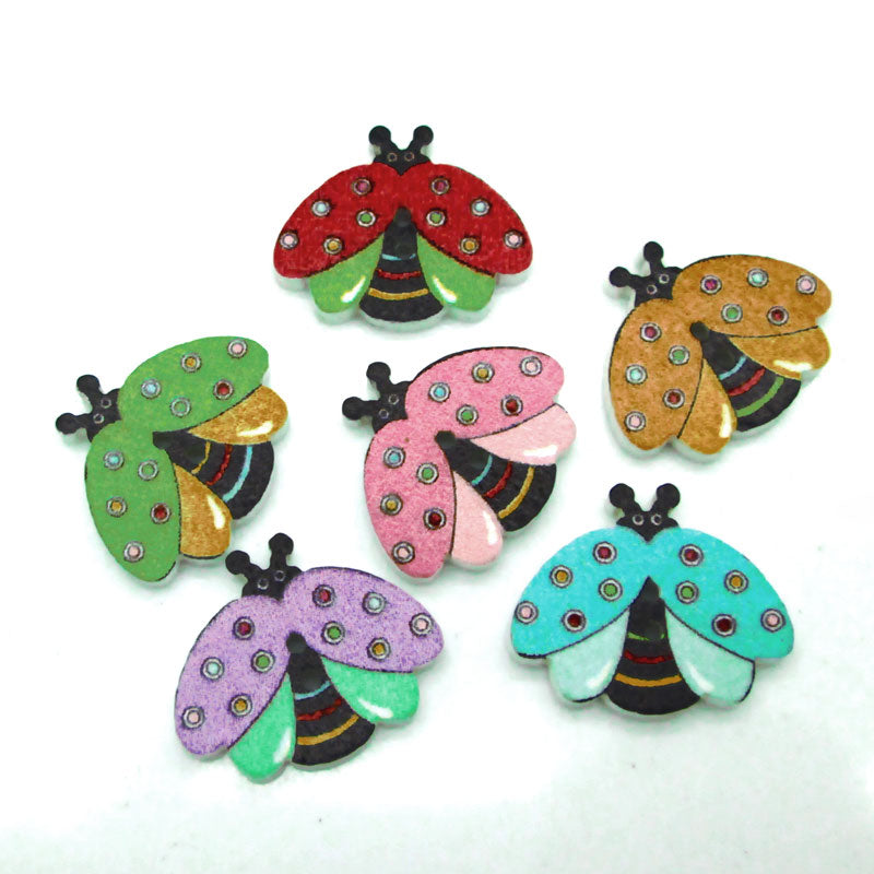 50pc Mixed Bees Wooden Buttons