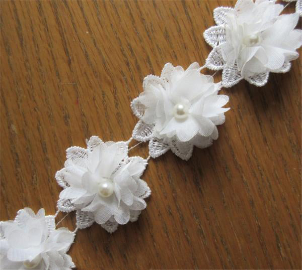 50x White Flower Chiffon Pearl Embroidered Lace Trim Ribbon