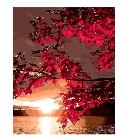 Red Maple Leaves Sunset - Paint by Numbers