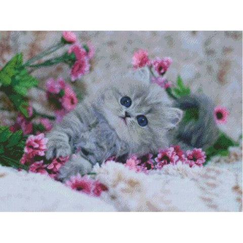 "5D Diamond Painting ""Cute Cat and Pink Flowers"""