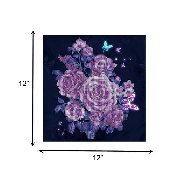 5D Diamond Painting Purple Rose Flower Butterflies