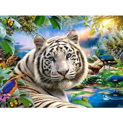 5D Diamond Painting Animal White Tiger