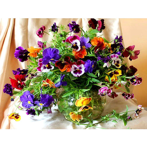 5D Diamond Mosaic Colorful Flowers and Vases