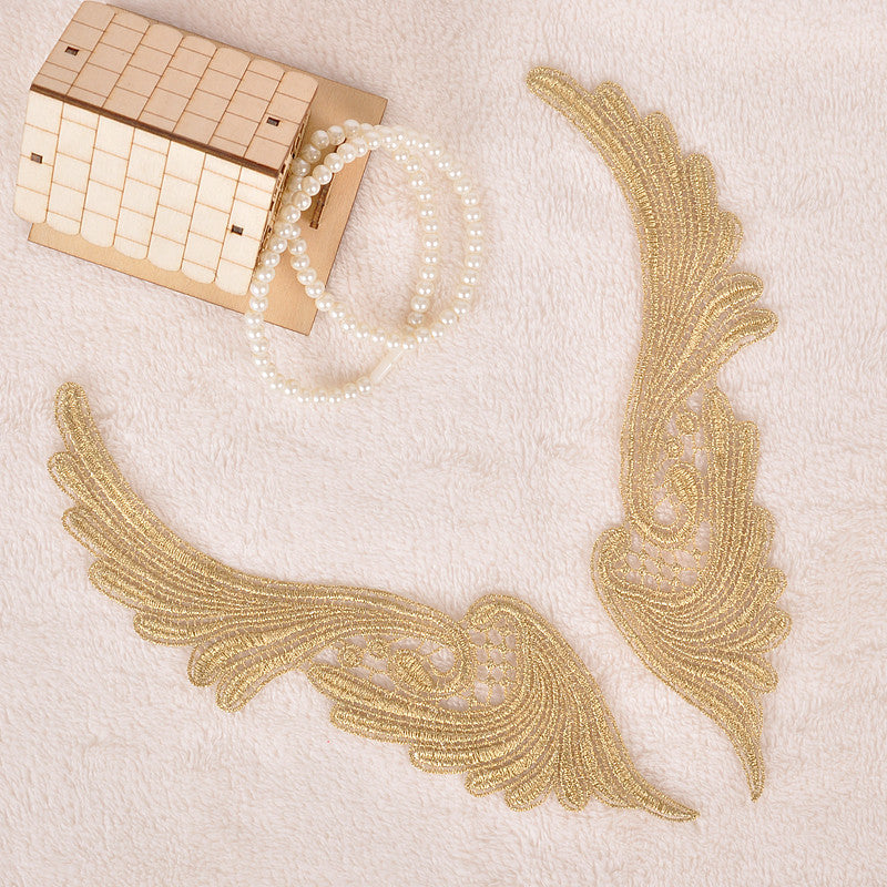 5Pairs Flower Floral Venice (white/ Gold) Lace Applique Sewing Trims
