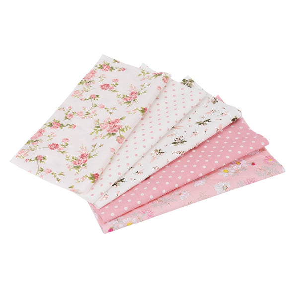 "5pcs 100% Cotton Quilt Fabrics (10"" x 10"") Pink Pre-Cut"