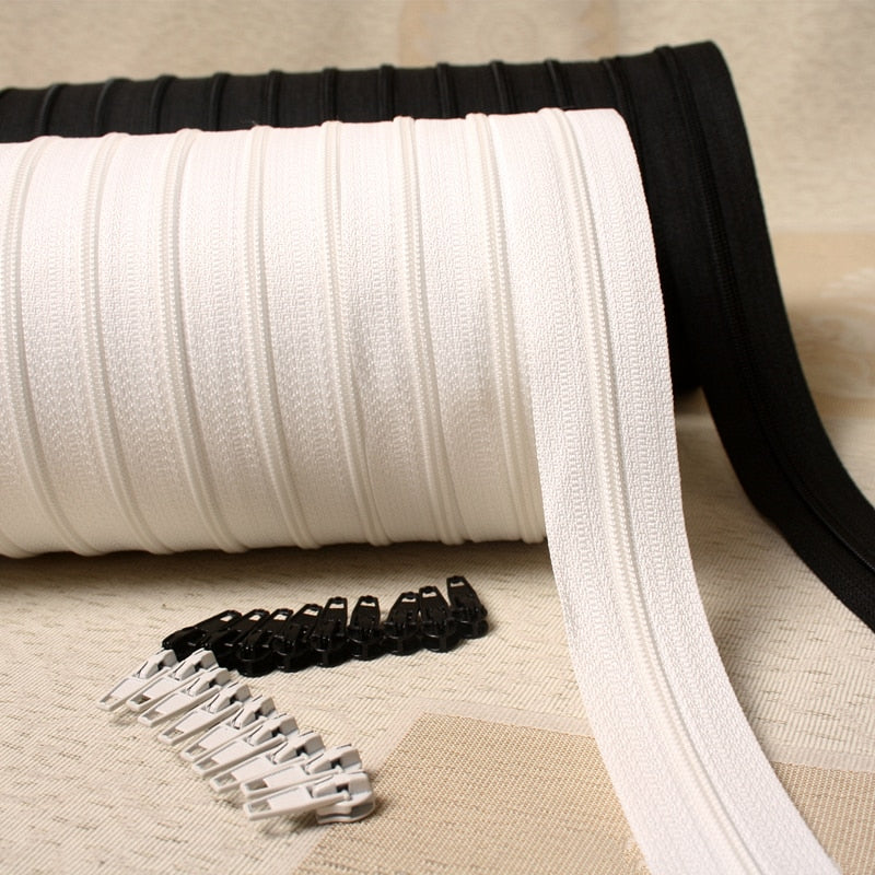 6meter Long Zipper Nylon Double Zipper Black and White