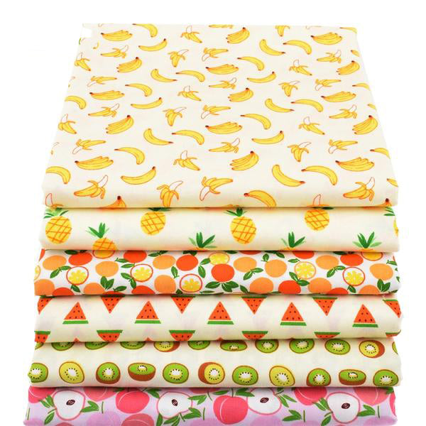 "6pcs Twill Cotton Fabric (16"" x 20"") Fruit Collection"