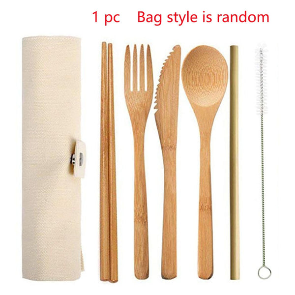 6pcs/set Reusable Portable Bamboo Cutlery Set Spoon Fork Chopstick
