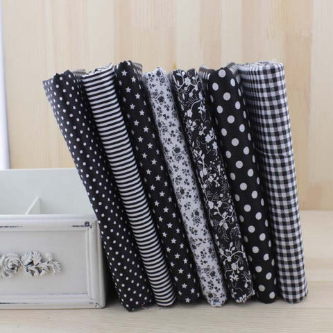 7 Piece Lot Patchwork Fabric 20X20 Black