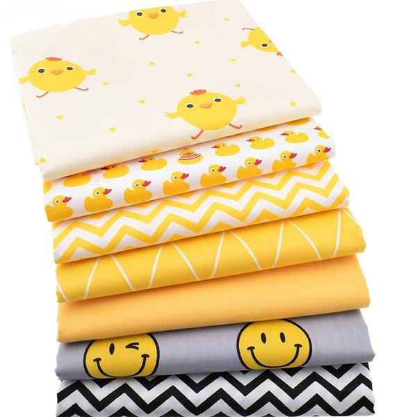 "7pcs Twill Cotton Fabric (16"" x 20"") Bird and Smiley Collection"