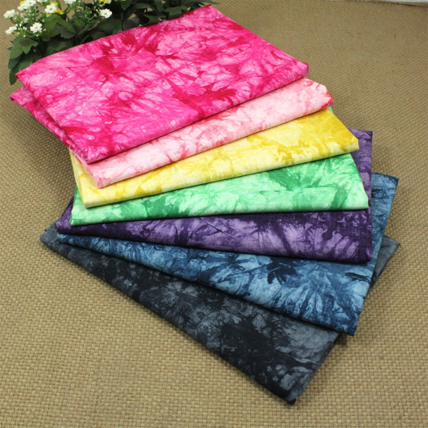 "8 Pcs Soft Linen Cotton Fabric (20"" X 28"") Tie-Dyed Printed Pattern"