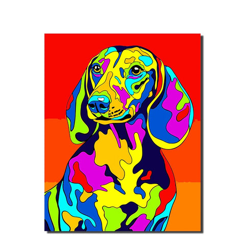 Colorful Dog Animals Painting By Numbers