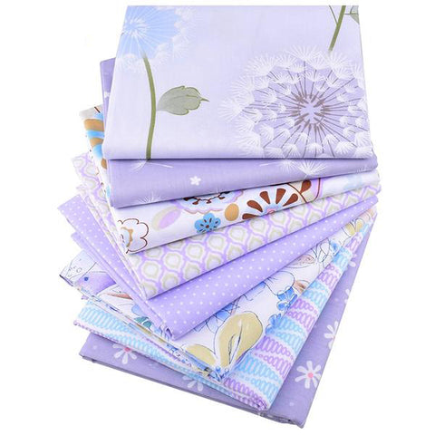 "8pcs Twill Cotton Fabric (16"" x 20"") New Purple Floral"