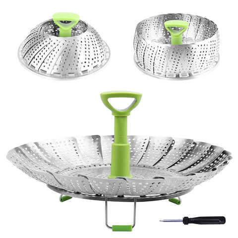 9/11 Inch Stainless Steel Steaming Basket Folding Mesh