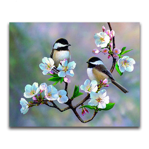 Full Square Diamond painting Bird&Gardenia