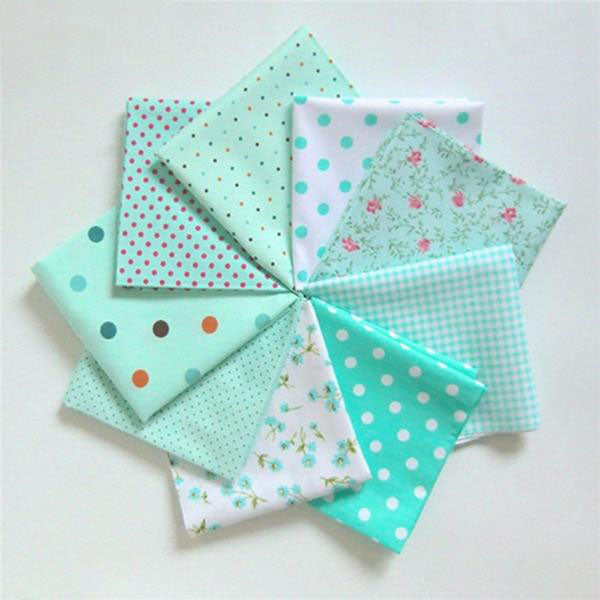 "9Pcs Cotton Fabric (10"" x 10"") Flower Polka Dots Series"