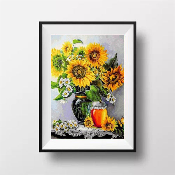 Diamond Painting Sunflower Flower Vase