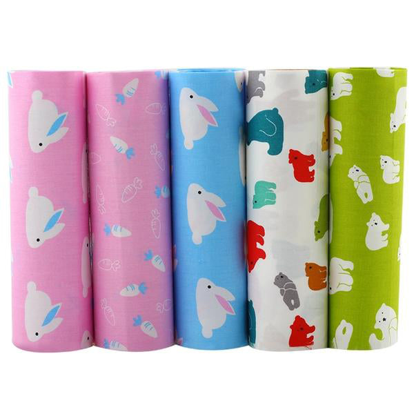 "5pcs Cotton Telas Patchwork (16"" x 20"") Rabbit and Bear Collection"