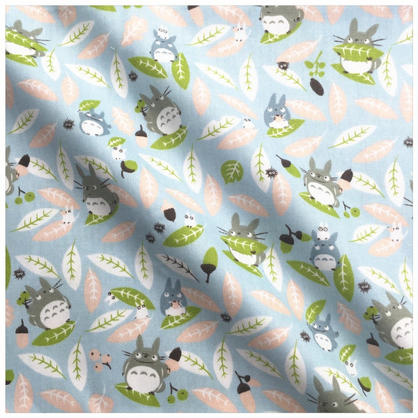 "Cotton Fabric (20"" x 63"") Blue Cartoon Totoro"