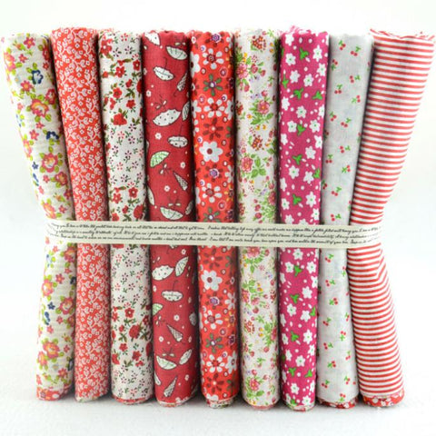 9 pcs Fat Quarter Bundle 20X20 Cute Hot Red Collection