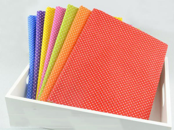 "7 pieces Colorful Cotton Fabric (20"" x 20') Mini Polka Dots"