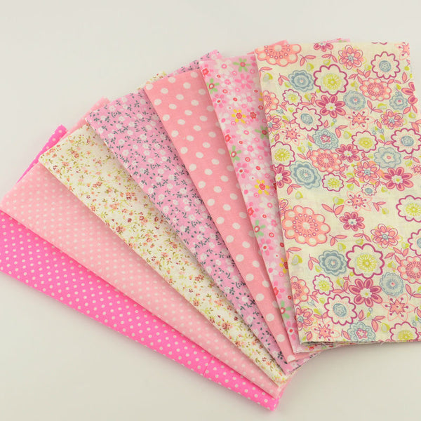 "7 Pieces Lot Patchwork Fabric (12"" x 12"") New Pink Collection"