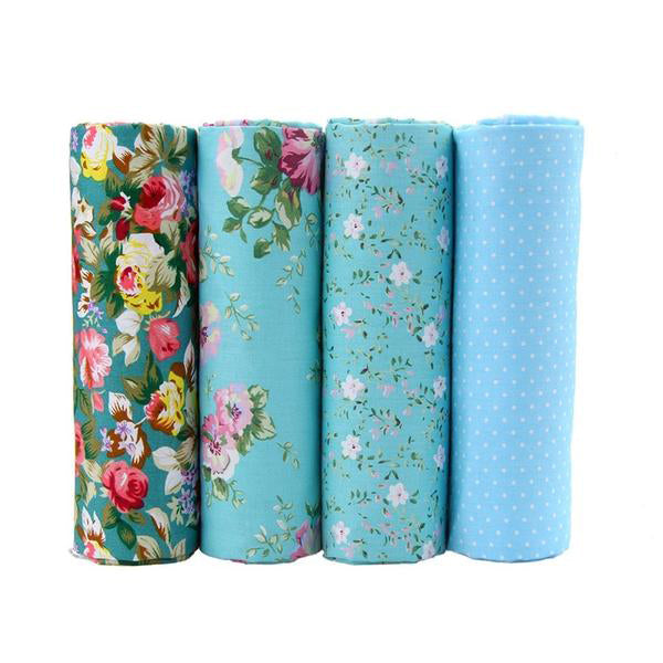 "4 pcs Cotton Fabric (16"" x 20"") Blue Floral Collection"