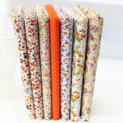 "7pcs  Fat Quarters Bundle  Orange 10""X10"""