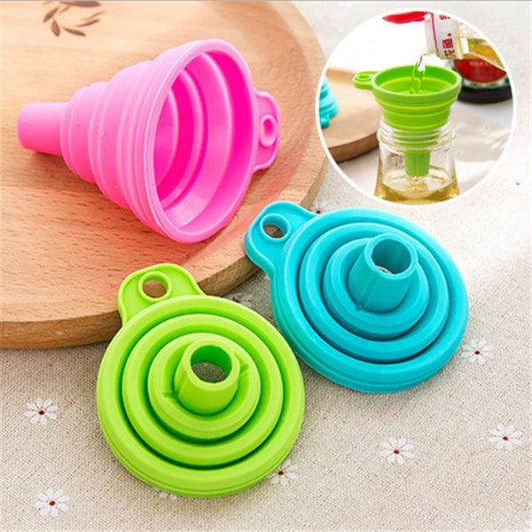 1pcs Mini Silicone Foldable Funnel Hopper