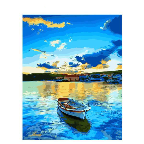 Painting By Numbers Frameless Lake Boat