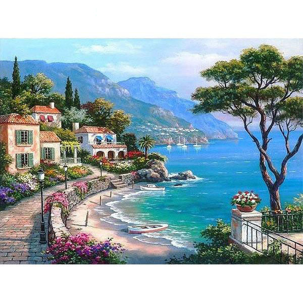 Mediterranean Sea Landscape Painting By Numbers