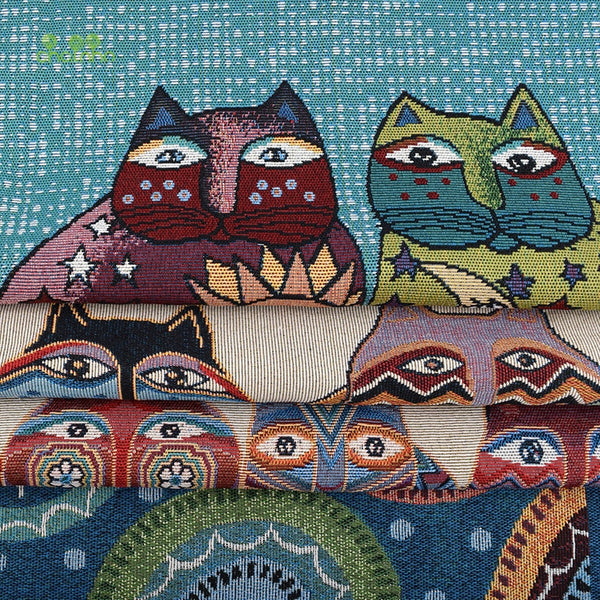 "4 pcs Yarn Dyed Polyester Cotton (19"" x 19"") Fat Cat Series"