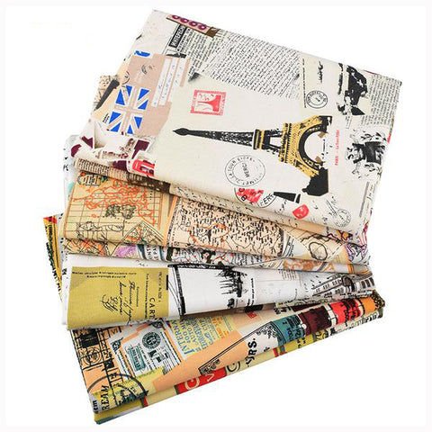 "4 pcs Cotton Linen Fabric (10"" x 18"") Around The World Series"