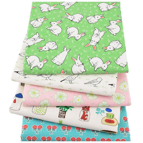 "5 pcs Print Cotton Linen Fabric (10"" x 18"") Rabbit and Bird Collection"