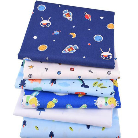 "6 pcs Twill Cotton Fabric (16"" x 20"") Space Collection"