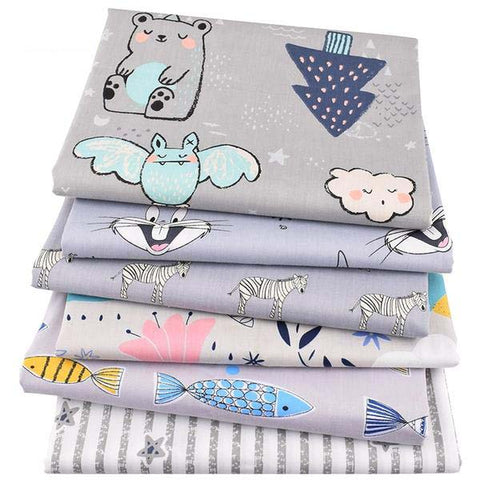 "6 pcs Twill Cotton Fabric (16"" x 20"") Bunny and Bat Series"