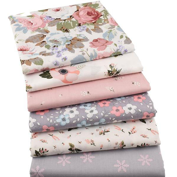 "6pcs Twill Cotton Fabric (16"" x 20"") New Floral Series Collection"