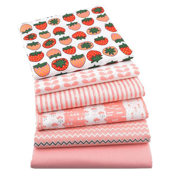 "6pcs Twill Cotton Fabric (16"" x 20"") New Strawberry Series"