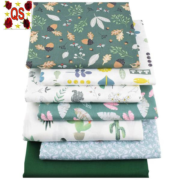 "7pcs Twill Cotton Fabric (16"" x 20) Green Floral Series"