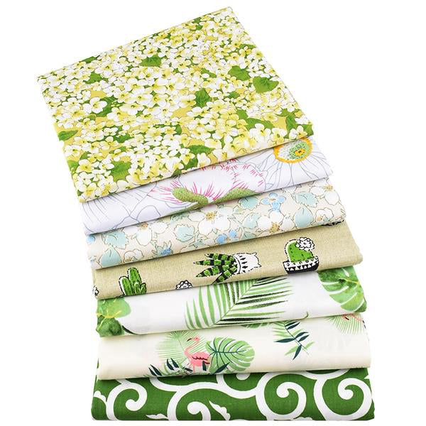 "7pcs Twill Cotton Fabric (16"" x 20"") New Green Floral Series"