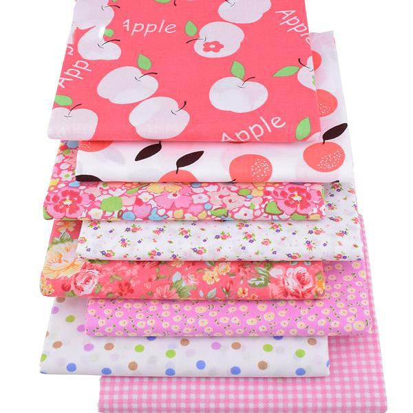 "8pcs Cotton Plain Thin Fabric (16"" x 20"") Pink Apple Series"