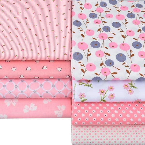 "8 pcs Twill Cotton Fabric (16"" x 20"") Berry, Flower Heart Series"
